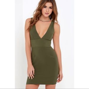 Lulu's dress sultry saunter olive green bodycon XL